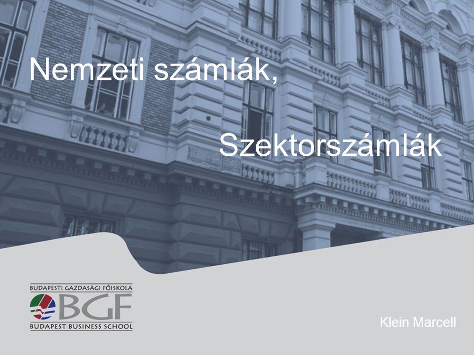 Nemzeti számlák, Szektorszámlák Klein Marcell