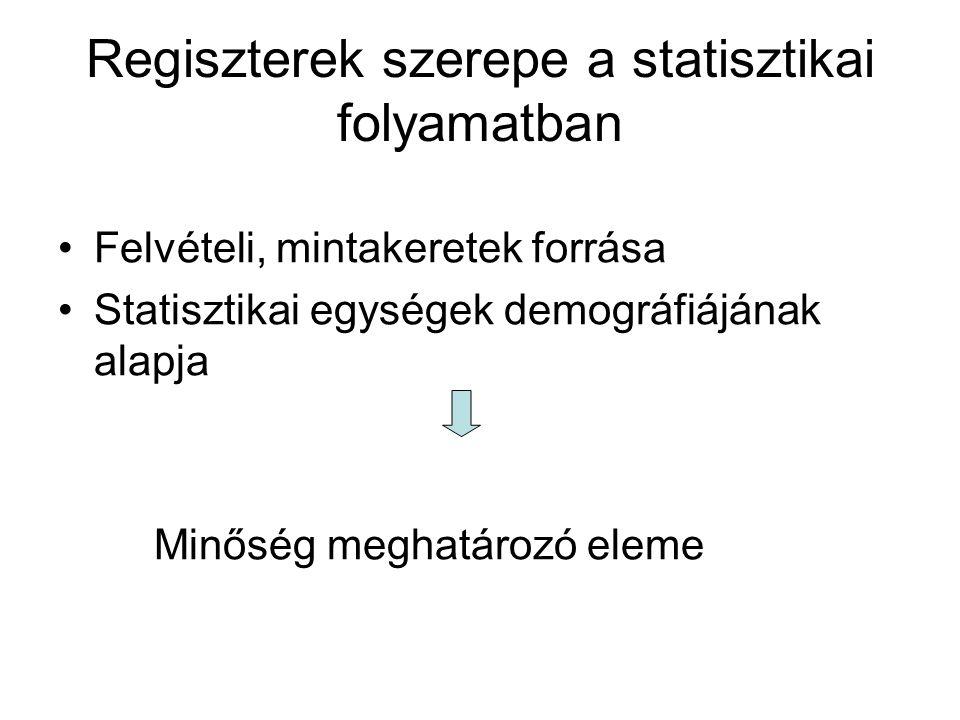 Regiszterek szerepe a statisztikai folyamatban