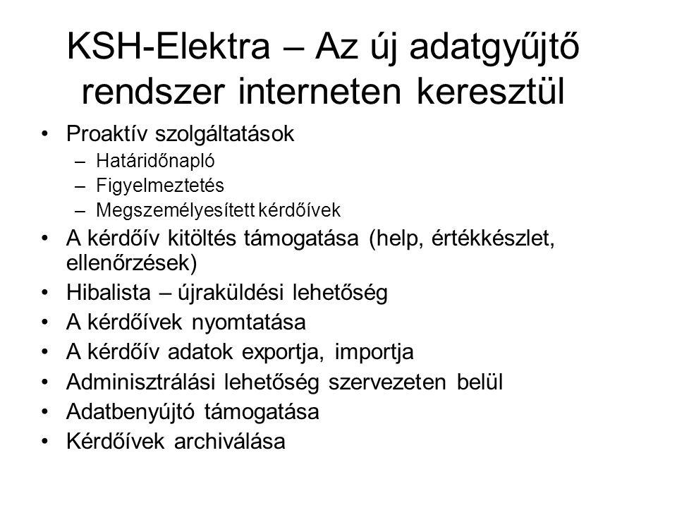 KSH-Elektra – Az új adatgyűjtő rendszer interneten keresztül