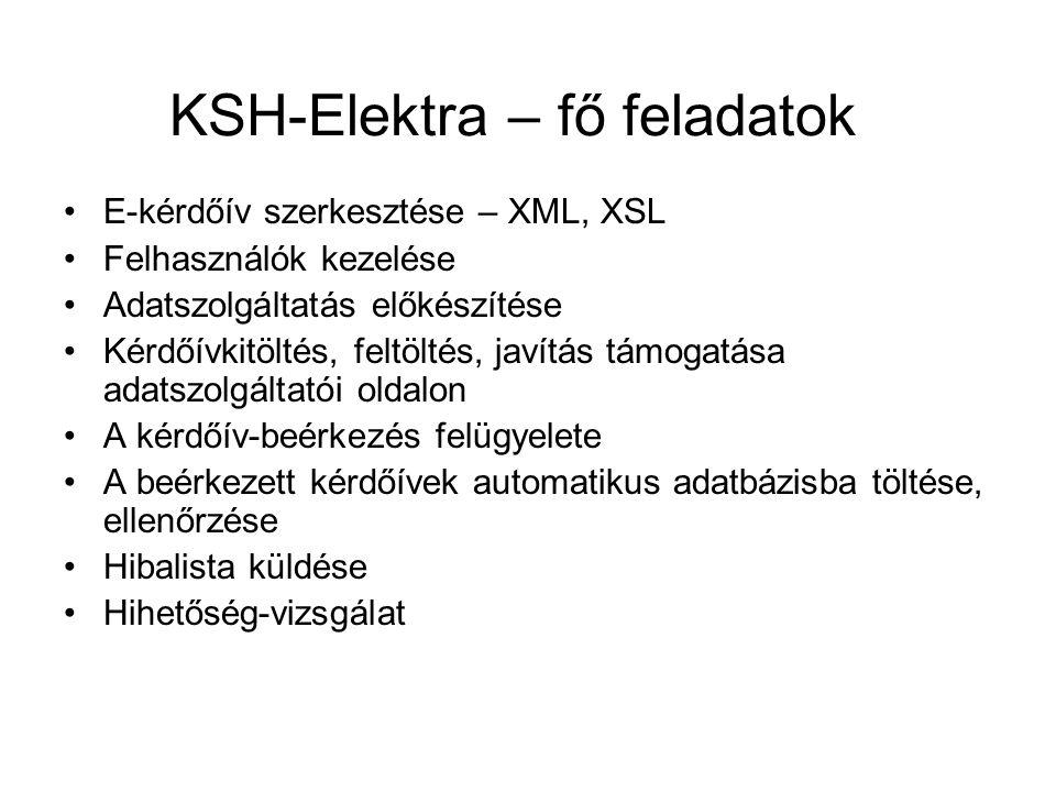 KSH-Elektra – fő feladatok