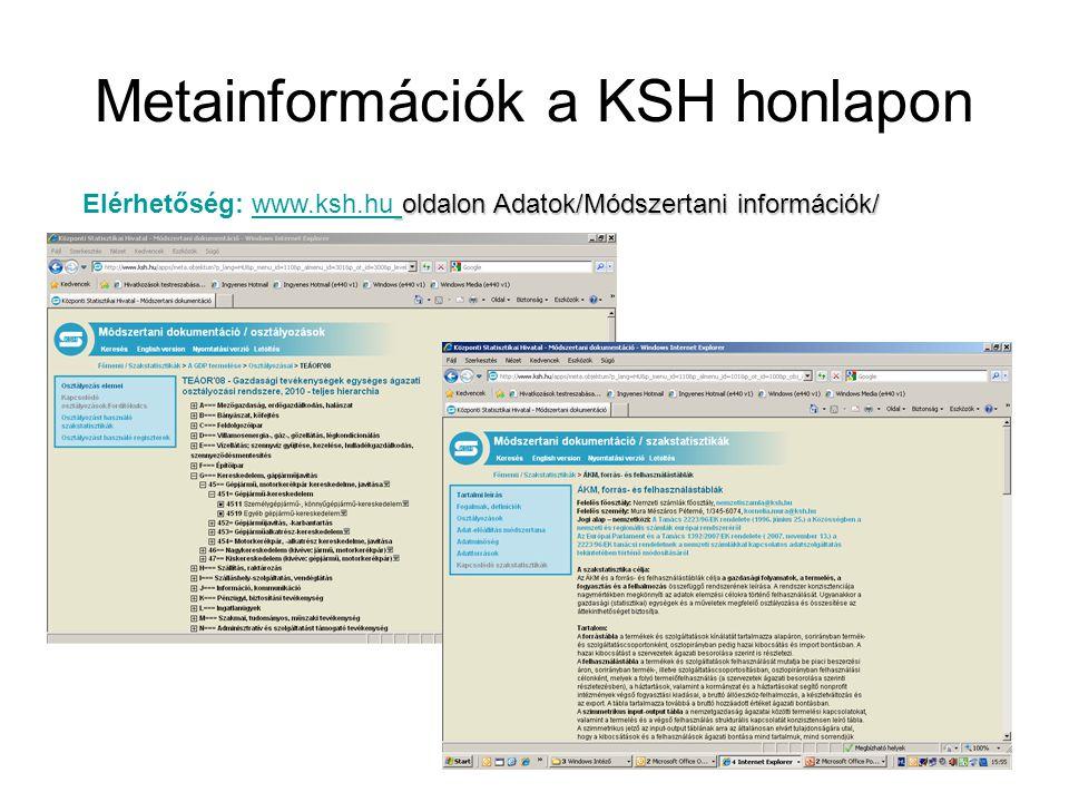 Metainformációk a KSH honlapon