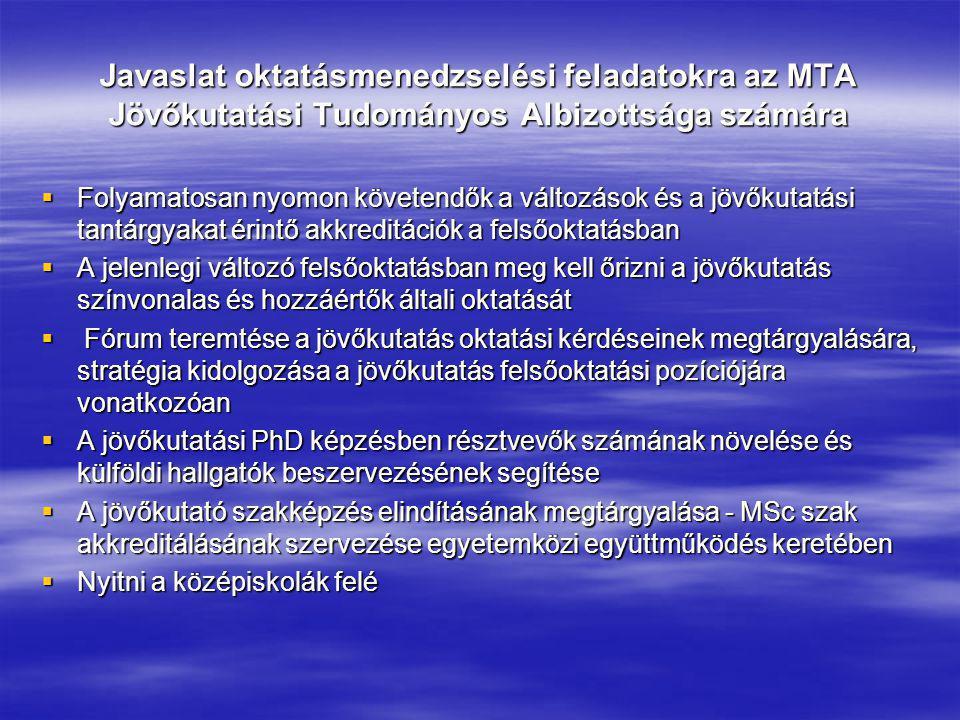 Javaslat oktatásmenedzselési feladatokra az MTA Jövőkutatási Tudományos Albizottsága számára