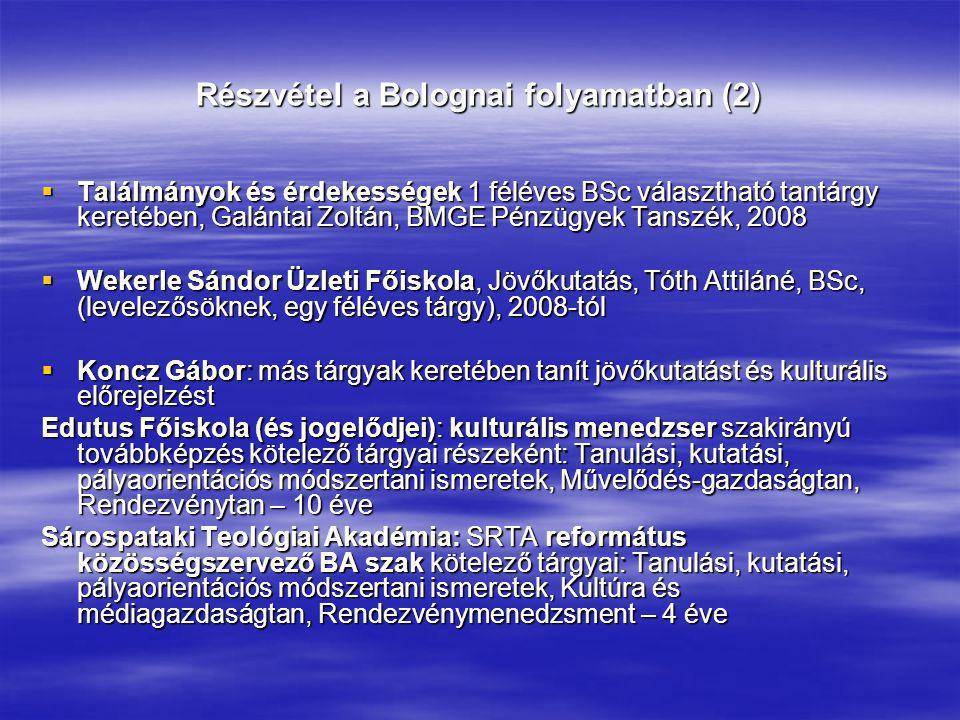 Részvétel a Bolognai folyamatban (2)
