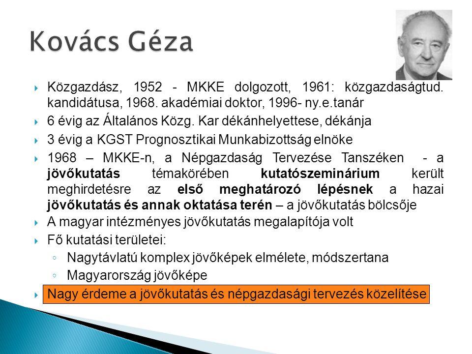 Kovács Géza Közgazdász, 1952 - MKKE dolgozott, 1961: közgazdaságtud. kandidátusa, 1968. akadémiai doktor, 1996- ny.e.tanár.