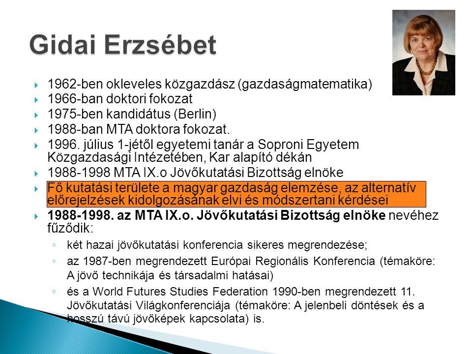 Gidai Erzsébet 1962-ben okleveles közgazdász (gazdaságmatematika)