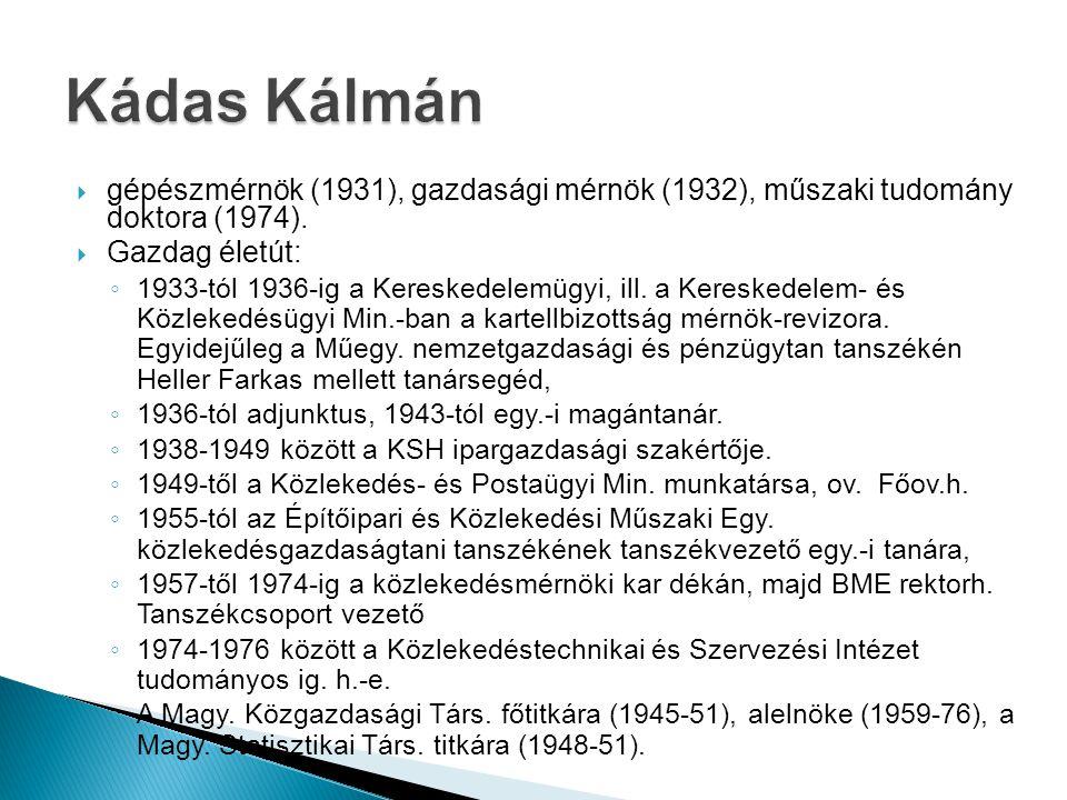 Kádas Kálmán gépészmérnök (1931), gazdasági mérnök (1932), műszaki tudomány doktora (1974). Gazdag életút: