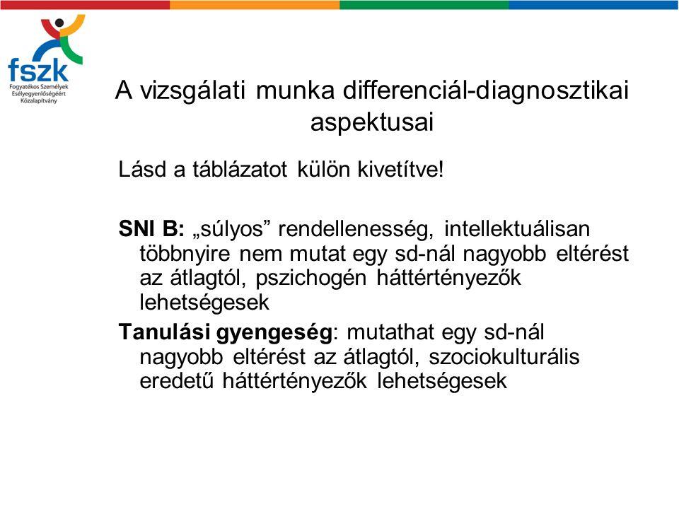 A vizsgálati munka differenciál-diagnosztikai aspektusai
