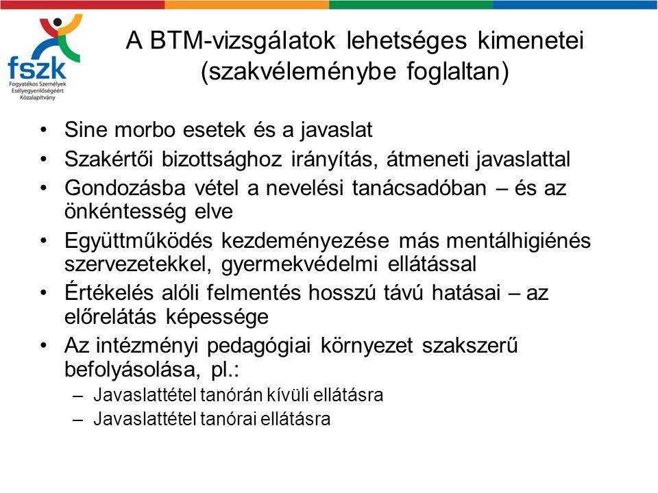 A BTM-vizsgálatok lehetséges kimenetei (szakvéleménybe foglaltan)