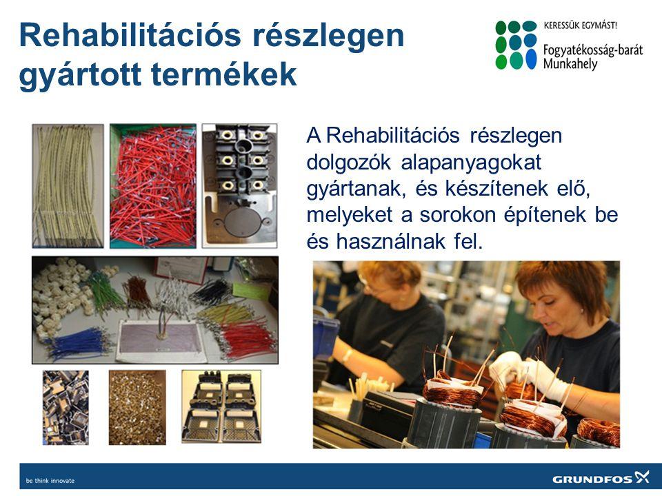 Rehabilitációs részlegen gyártott termékek