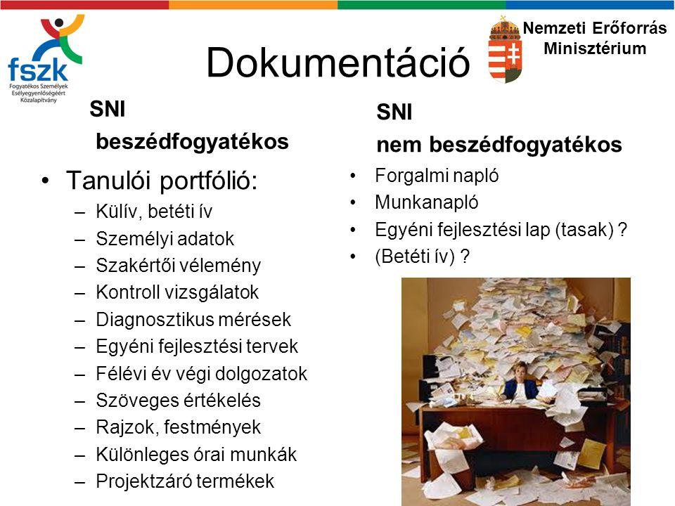 Dokumentáció Tanulói portfólió: SNI beszédfogyatékos SNI