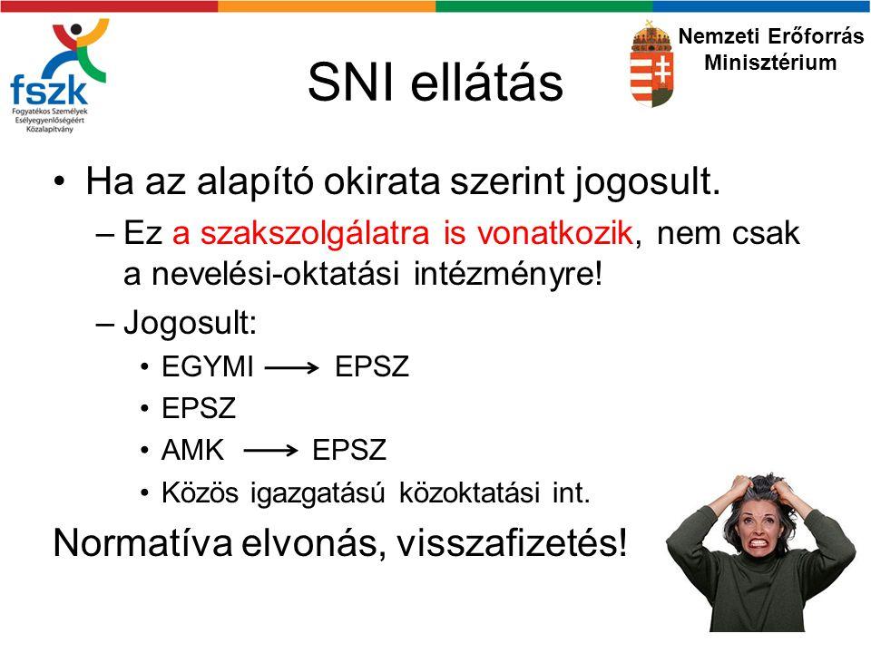 SNI ellátás Ha az alapító okirata szerint jogosult.