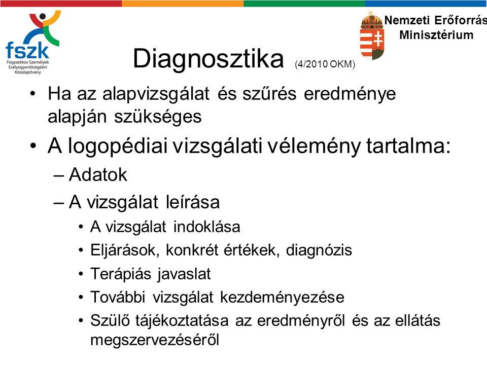 Diagnosztika (4/2010 OKM) A logopédiai vizsgálati vélemény tartalma: