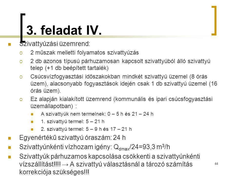 3. feladat IV. Szivattyúzási üzemrend: