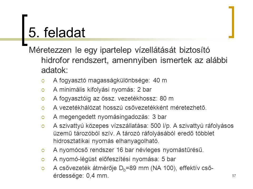 5. feladat Méretezzen le egy ipartelep vízellátását biztosító hidrofor rendszert, amennyiben ismertek az alábbi adatok: