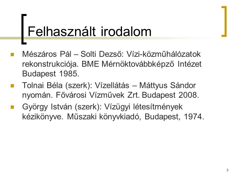 Felhasznált irodalom Mészáros Pál – Solti Dezső: Vízi-közműhálózatok rekonstrukciója. BME Mérnöktovábbképző Intézet Budapest 1985.