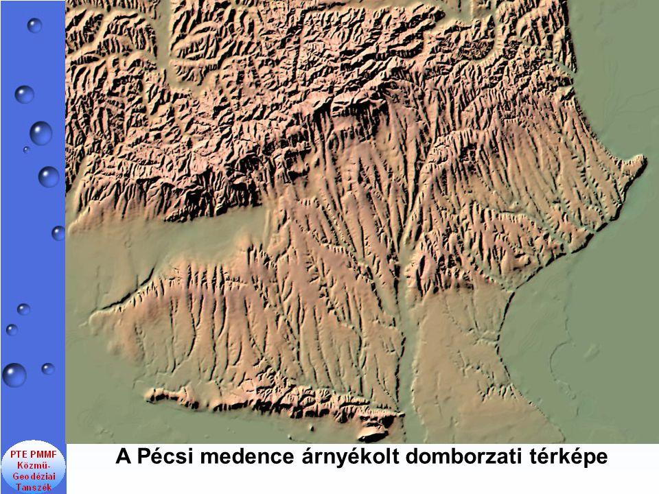 A Pécsi medence árnyékolt domborzati térképe