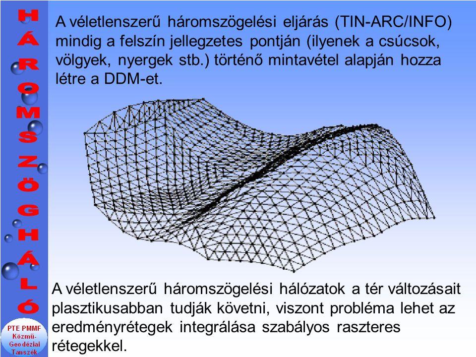 A véletlenszerű háromszögelési eljárás (TIN-ARC/INFO) mindig a felszín jellegzetes pontján (ilyenek a csúcsok, völgyek, nyergek stb.) történő mintavétel alapján hozza létre a DDM-et.