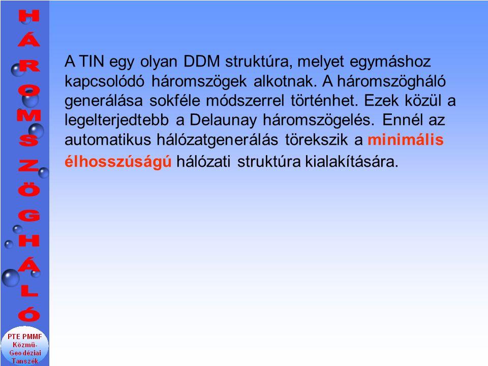 A TIN egy olyan DDM struktúra, melyet egymáshoz kapcsolódó háromszögek alkotnak. A háromszögháló generálása sokféle módszerrel történhet. Ezek közül a legelterjedtebb a Delaunay háromszögelés. Ennél az automatikus hálózatgenerálás törekszik a minimális élhosszúságú hálózati struktúra kialakítására.