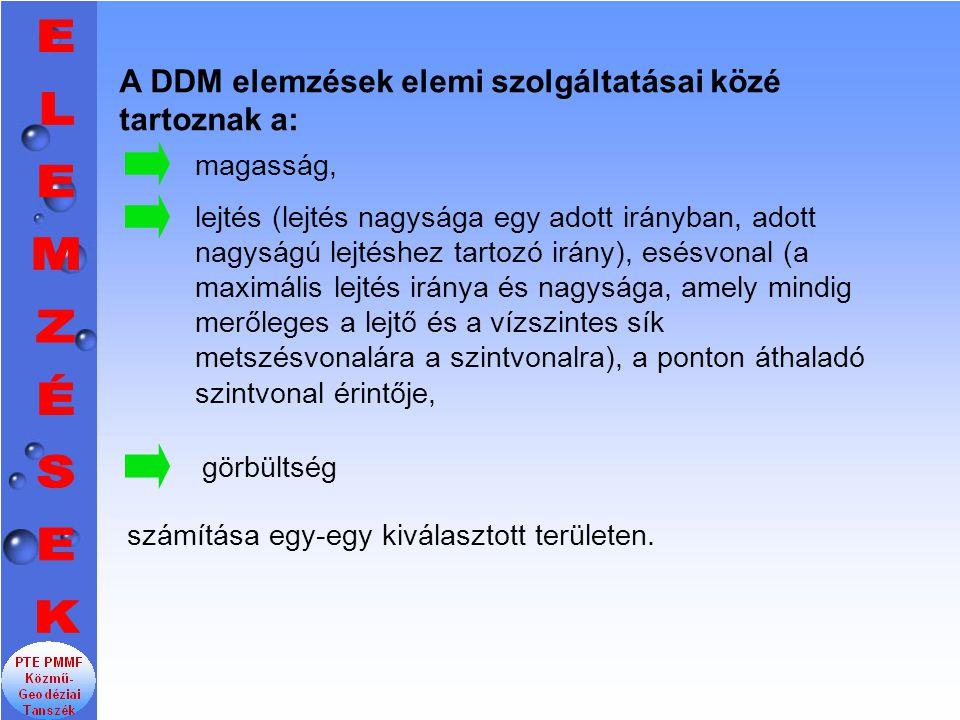 A DDM elemzések elemi szolgáltatásai közé tartoznak a:
