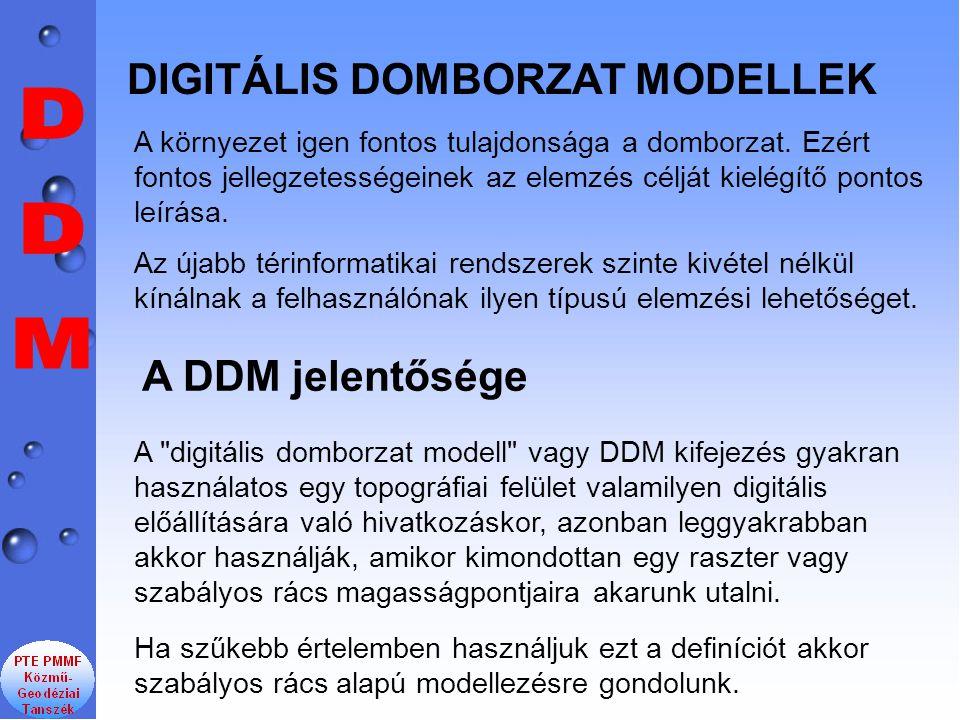DDM DIGITÁLIS DOMBORZAT MODELLEK A DDM jelentősége