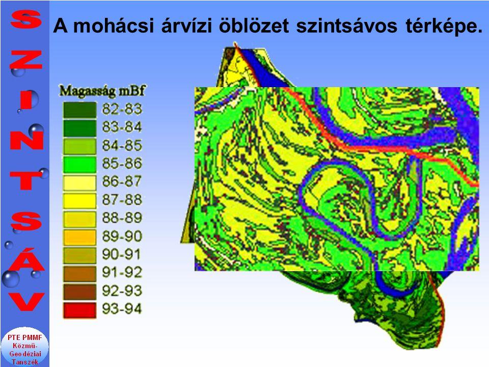 A mohácsi árvízi öblözet szintsávos térképe.