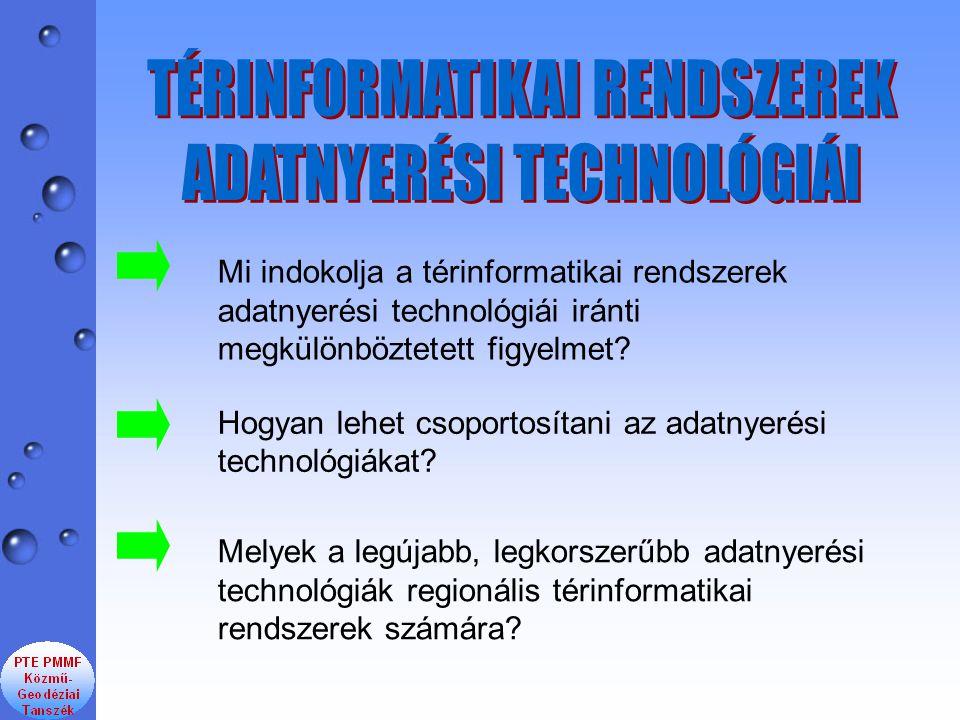 TÉRINFORMATIKAI RENDSZEREK ADATNYERÉSI TECHNOLÓGIÁI