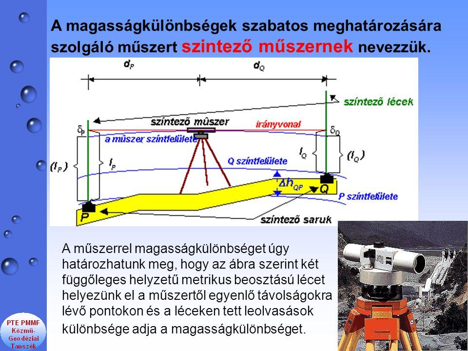 A magasságkülönbségek szabatos meghatározására szolgáló műszert szintező műszernek nevezzük.