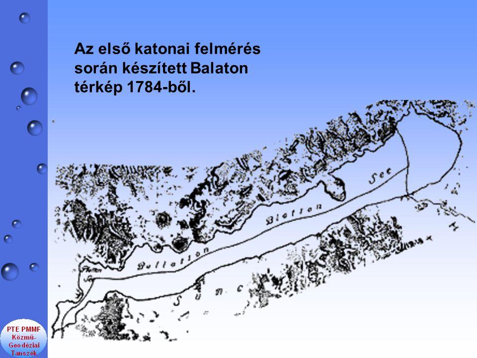 Az első katonai felmérés során készített Balaton térkép 1784-ből.