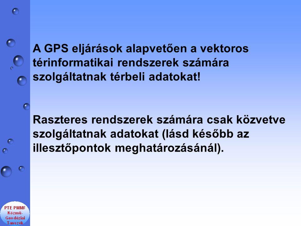 A GPS eljárások alapvetően a vektoros térinformatikai rendszerek számára szolgáltatnak térbeli adatokat!