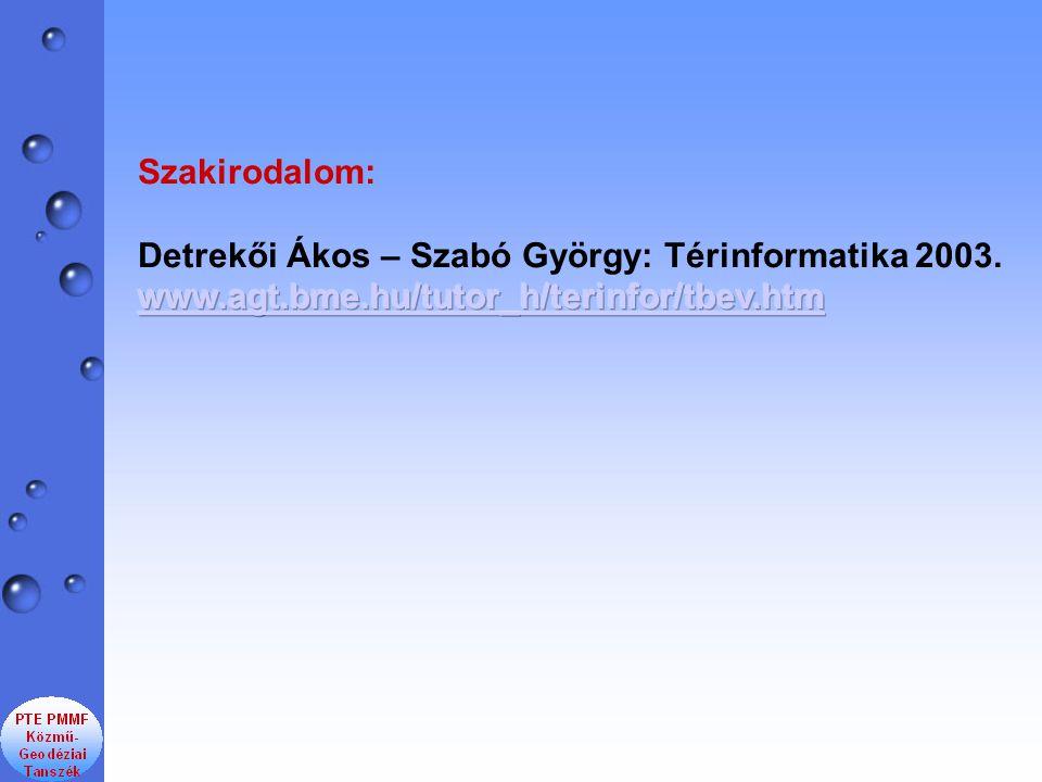 Szakirodalom: Detrekői Ákos – Szabó György: Térinformatika 2003.
