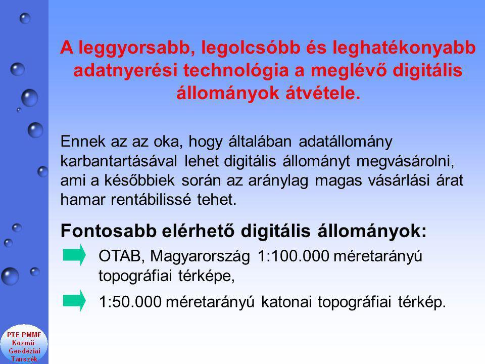 Fontosabb elérhető digitális állományok: