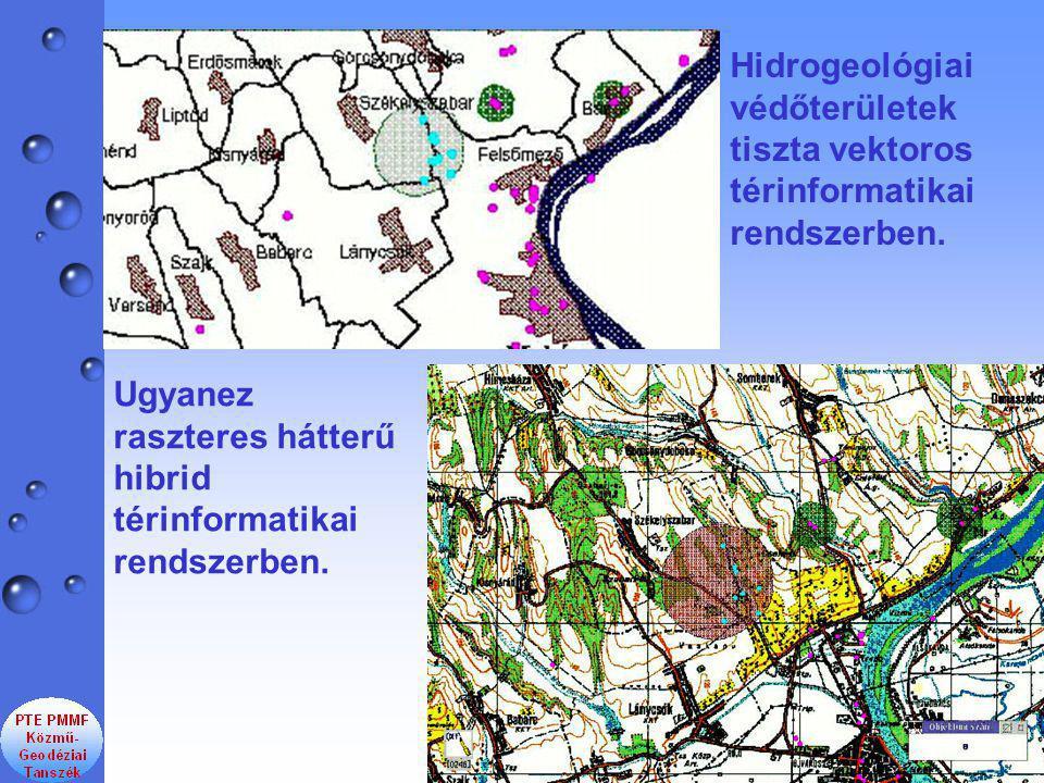 Hidrogeológiai védőterületek tiszta vektoros térinformatikai rendszerben.