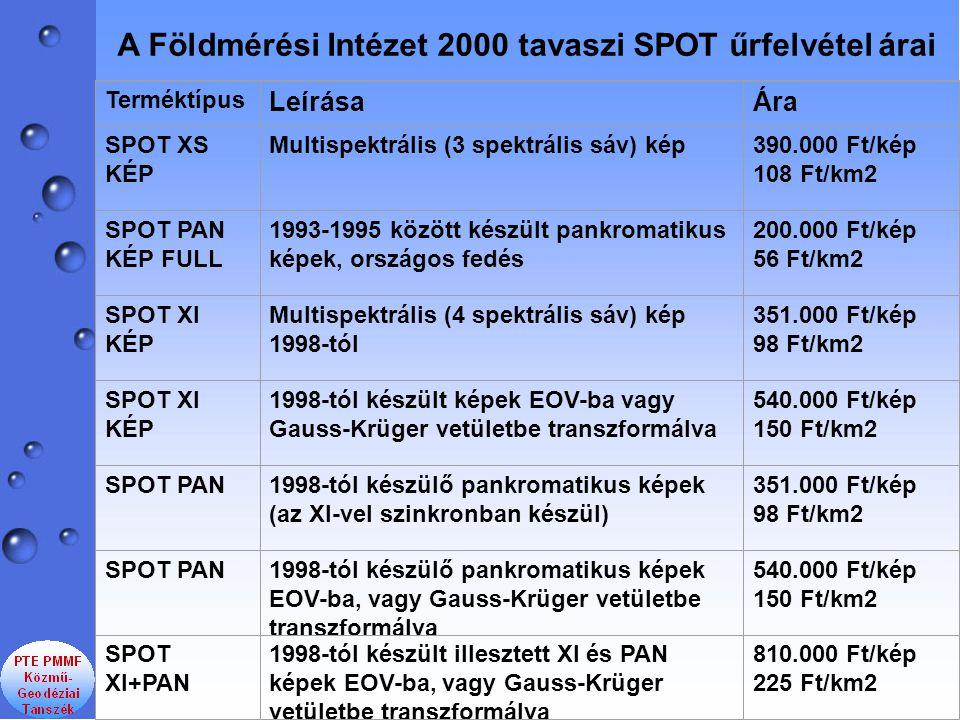 A Földmérési Intézet 2000 tavaszi SPOT űrfelvétel árai