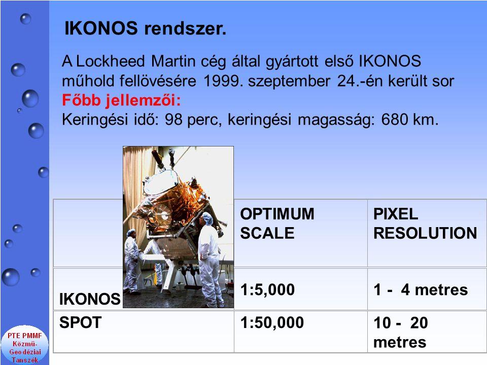 IKONOS rendszer. A Lockheed Martin cég által gyártott első IKONOS műhold fellövésére 1999. szeptember 24.-én került sor