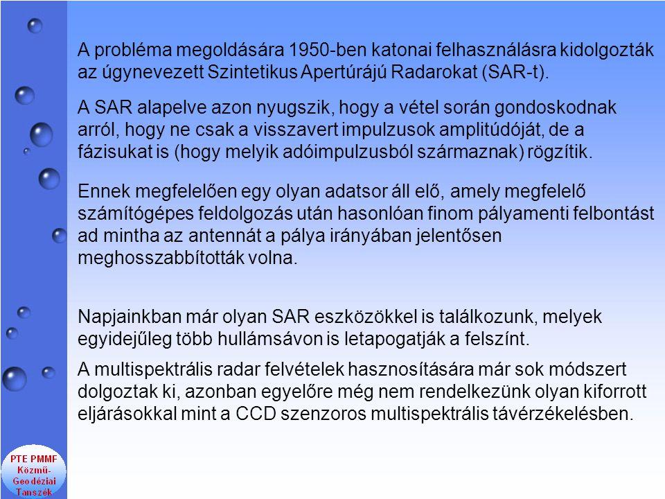 A probléma megoldására 1950-ben katonai felhasználásra kidolgozták az úgynevezett Szintetikus Apertúrájú Radarokat (SAR-t).