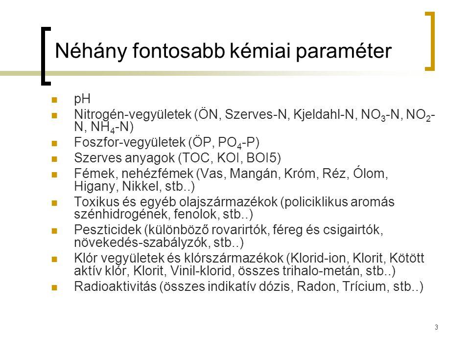 Néhány fontosabb kémiai paraméter