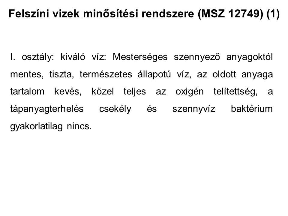 Felszíni vizek minősítési rendszere (MSZ 12749) (1)
