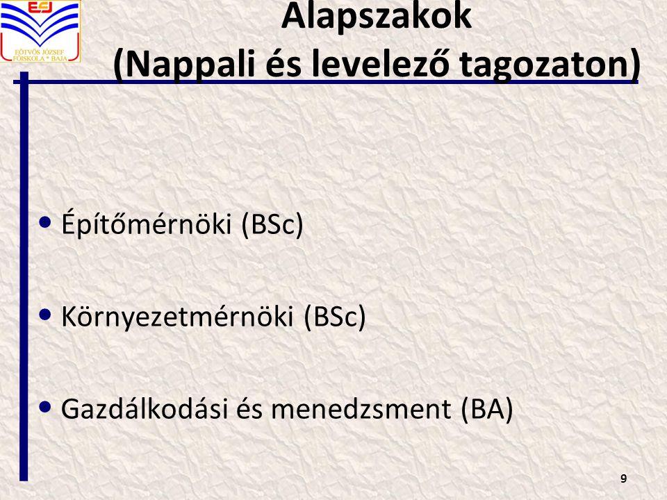Alapszakok (Nappali és levelező tagozaton)