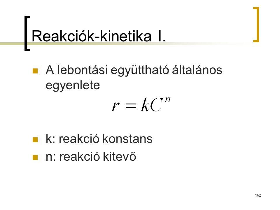 Reakciók-kinetika I. A lebontási együttható általános egyenlete