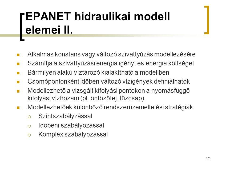 EPANET hidraulikai modell elemei II.