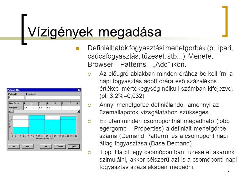 """Vízigények megadása Definiálhatók fogyasztási menetgörbék (pl. ipari, csúcsfogyasztás, tűzeset, stb...), Menete: Browser – Patterns – """"Add ikon."""