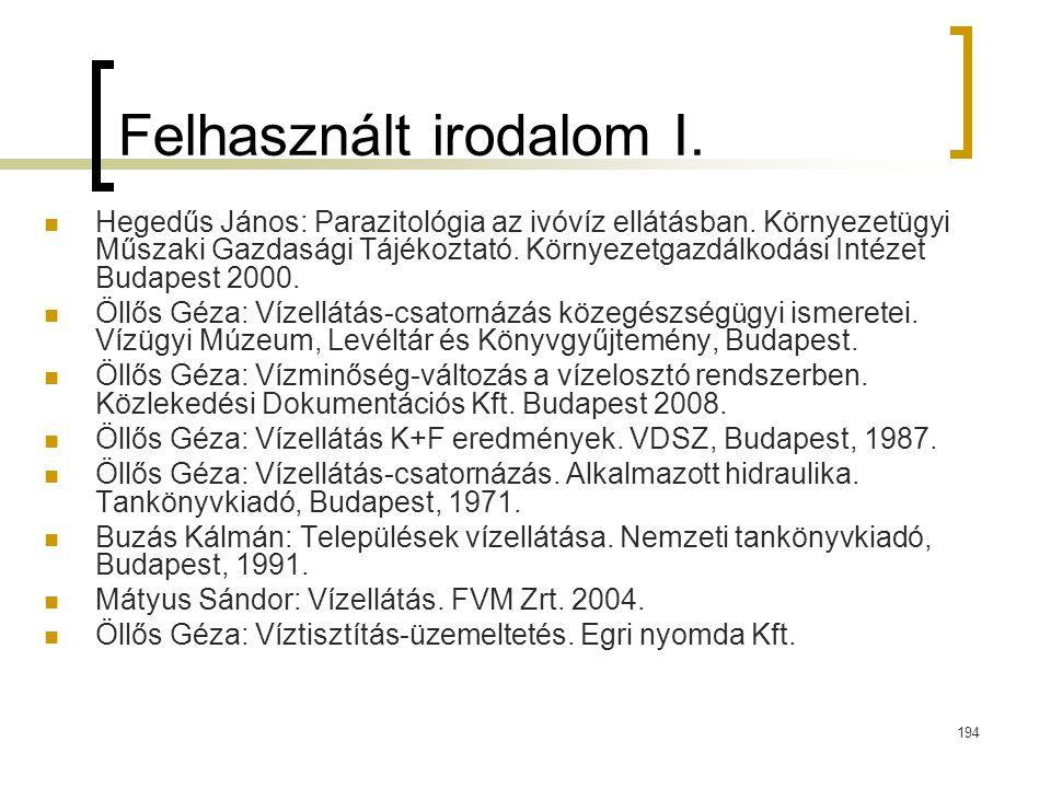 Felhasznált irodalom I.