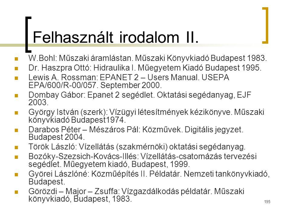 Felhasznált irodalom II.