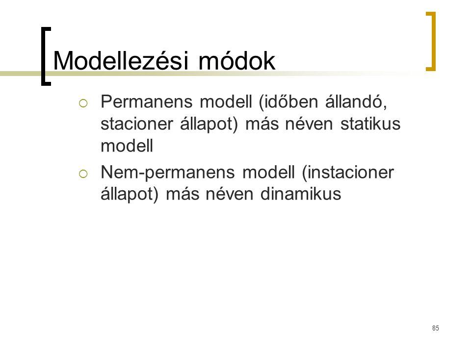 Modellezési módok Permanens modell (időben állandó, stacioner állapot) más néven statikus modell.