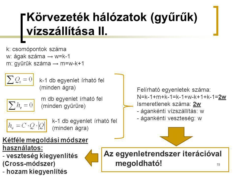 Körvezeték hálózatok (gyűrűk) vízszállítása II.