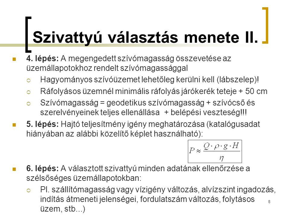 Szivattyú választás menete II.