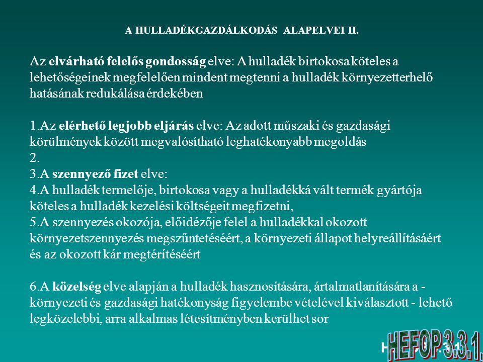 A HULLADÉKGAZDÁLKODÁS ALAPELVEI II.