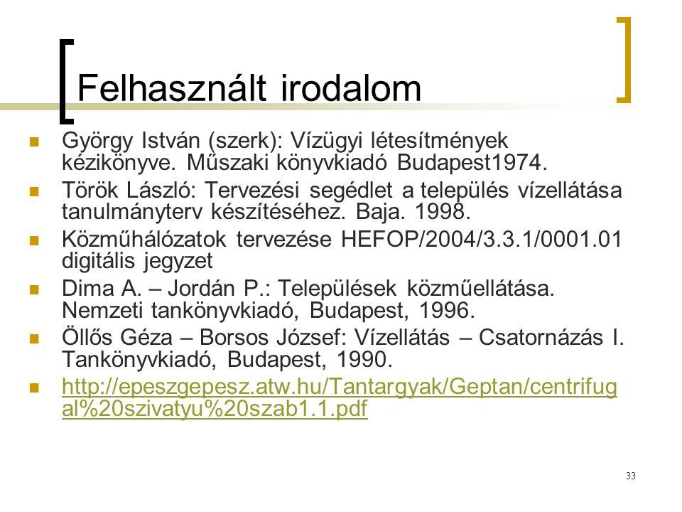Felhasznált irodalom György István (szerk): Vízügyi létesítmények kézikönyve. Műszaki könyvkiadó Budapest1974.
