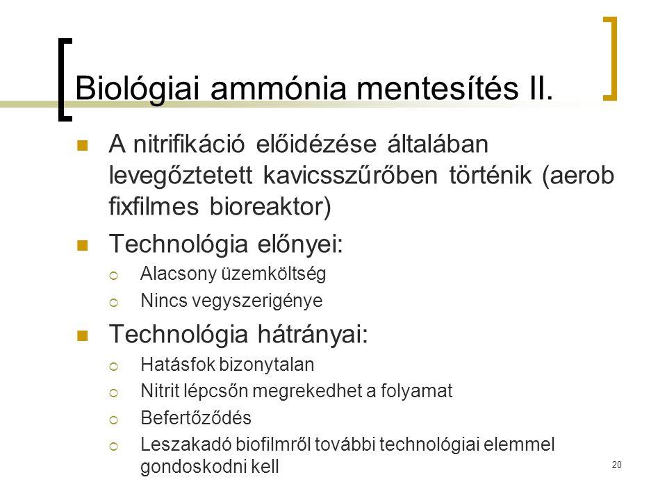 Biológiai ammónia mentesítés II.