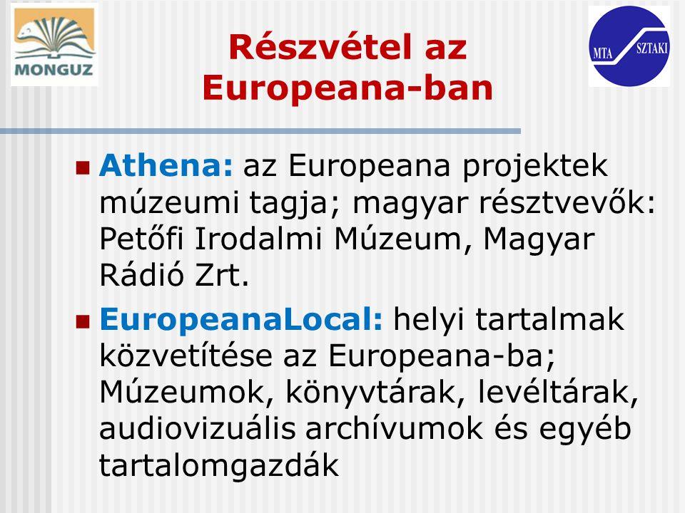 Részvétel az Europeana-ban
